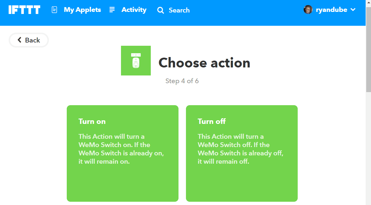 Screenshot of selecting Turn on for WeMo Action in IFTTT