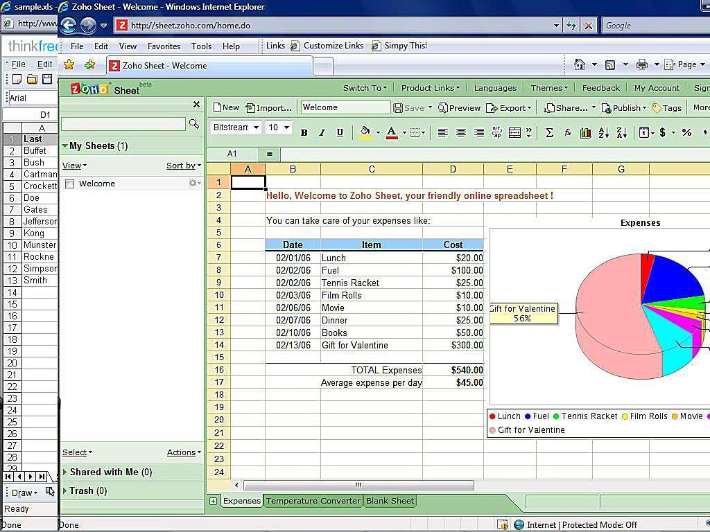 Zoho Free Online Spreadsheet