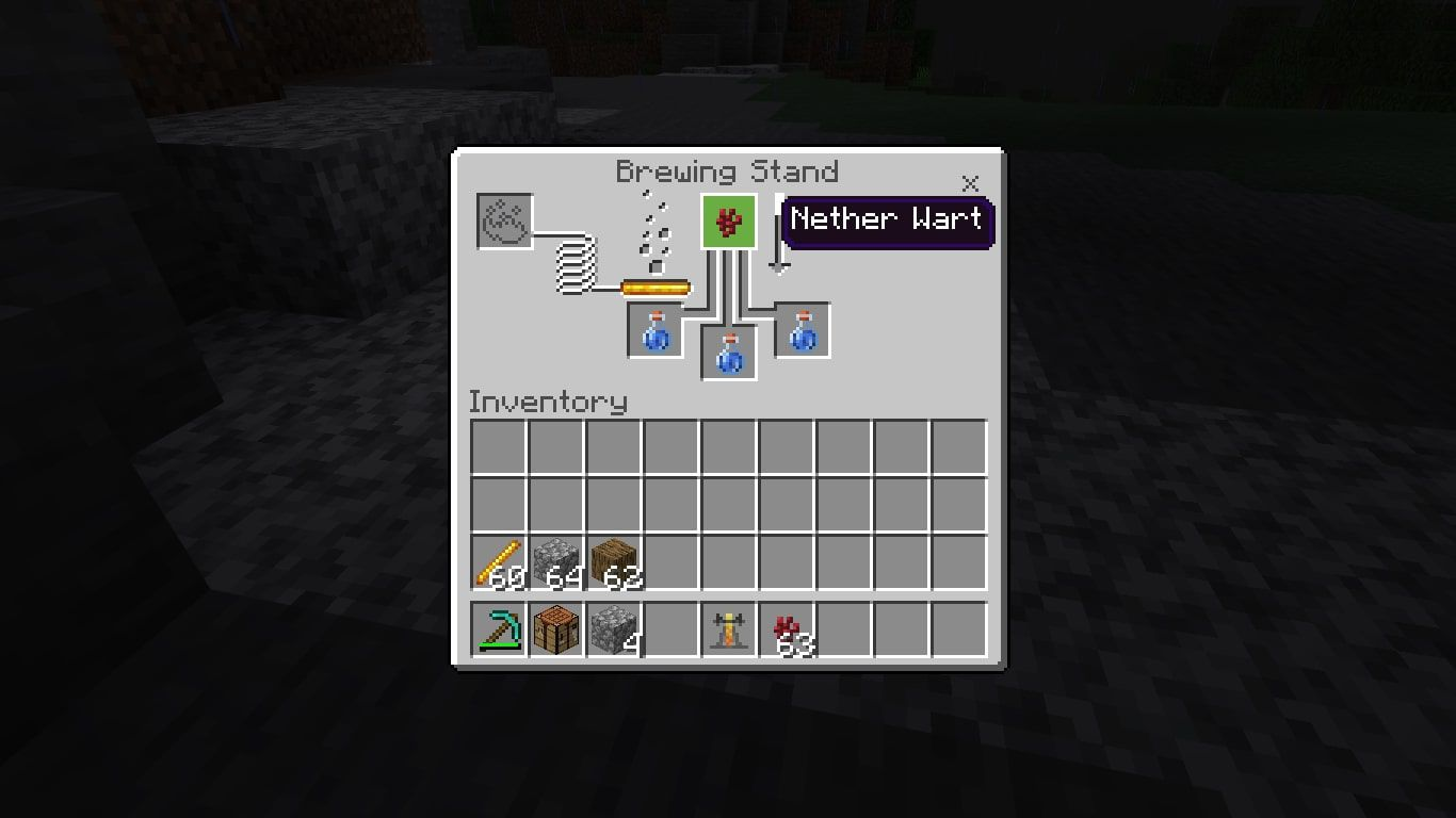 Put your ingredient in the top box of the brewing menu.