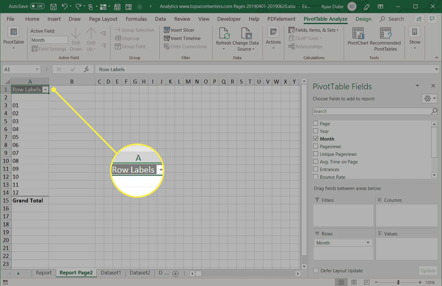 selecting data to analyze in pivot table