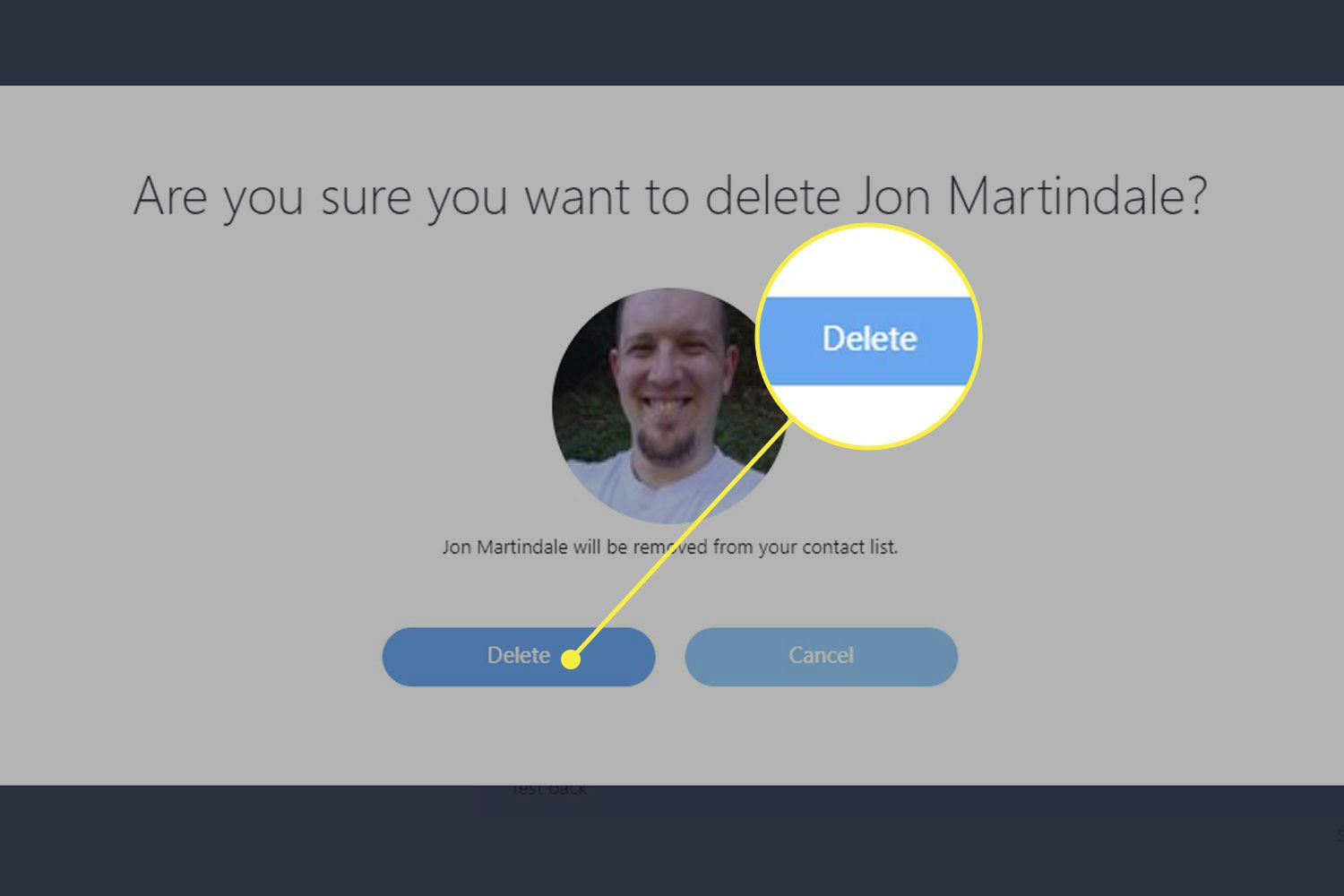 Screenshot of Skype's contact deletion screen with the Delete button highlighted