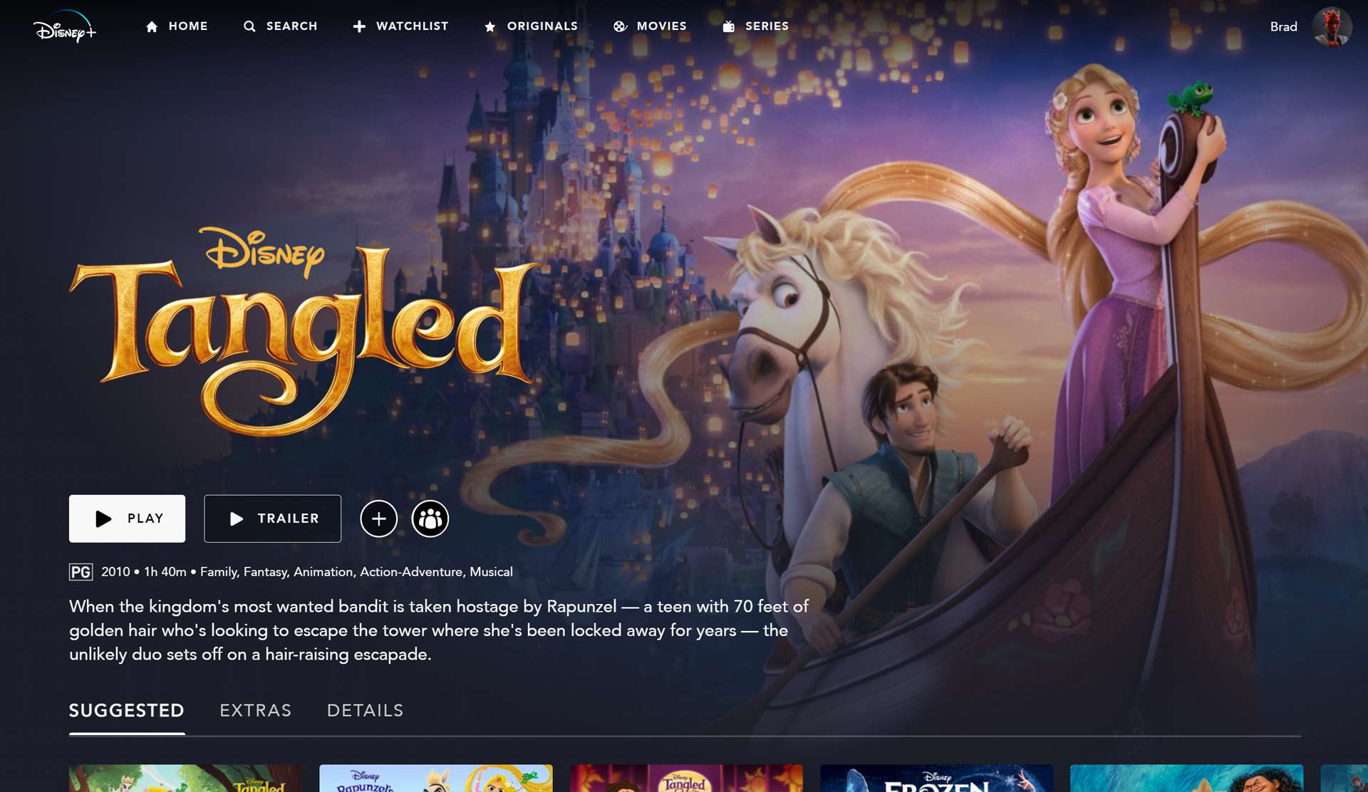 Disney's Tangled and other kids movies on Disney Plus.
