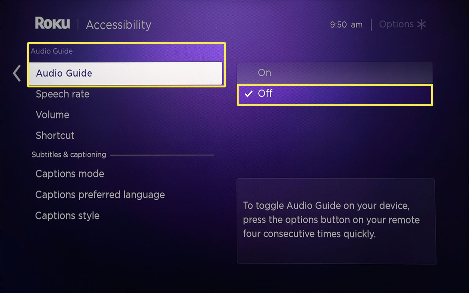 The Audio Guide feature set to Off from Roku Accessibility settings.