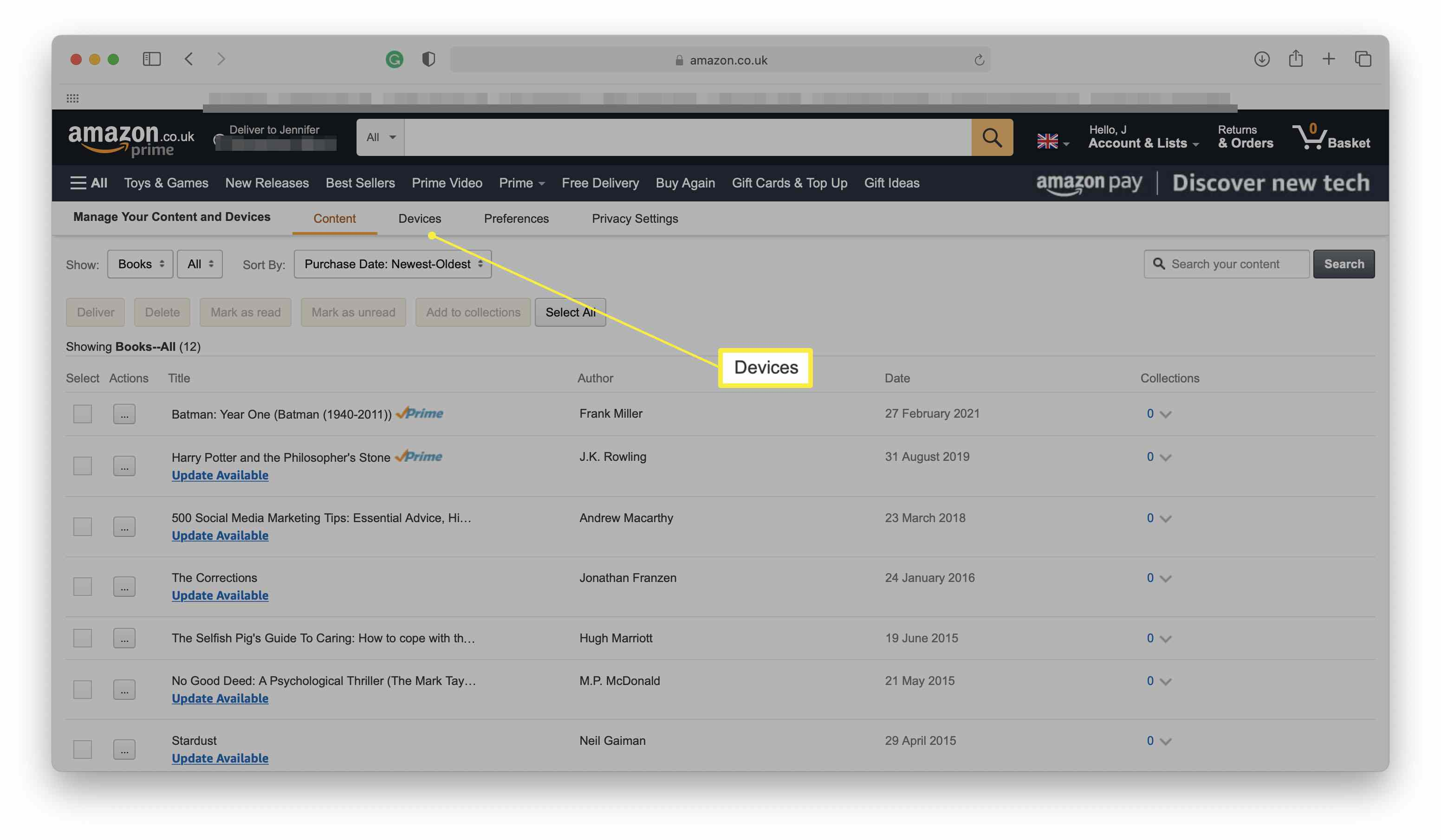 Amazon website with Manage Content & Devices open and Devices highlighted