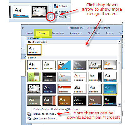 design themes in powerpoint 2010