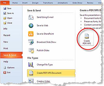 Saving Powerpoint 2010 Presentations As Pdf Files
