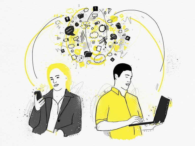 Illustration of a man and woman each using a computer device and accessing information in the cloud