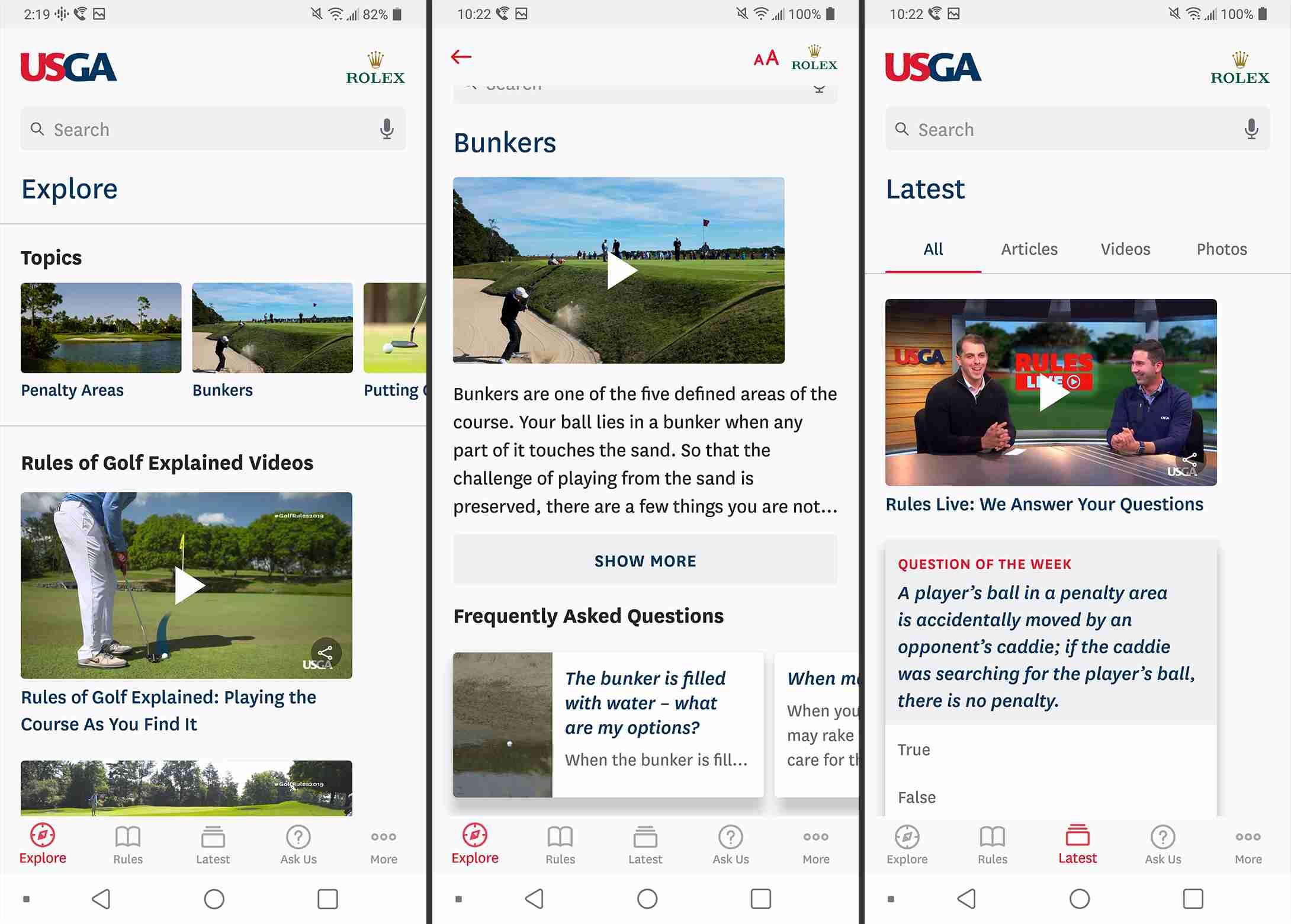 Rules of Golf app screenshots