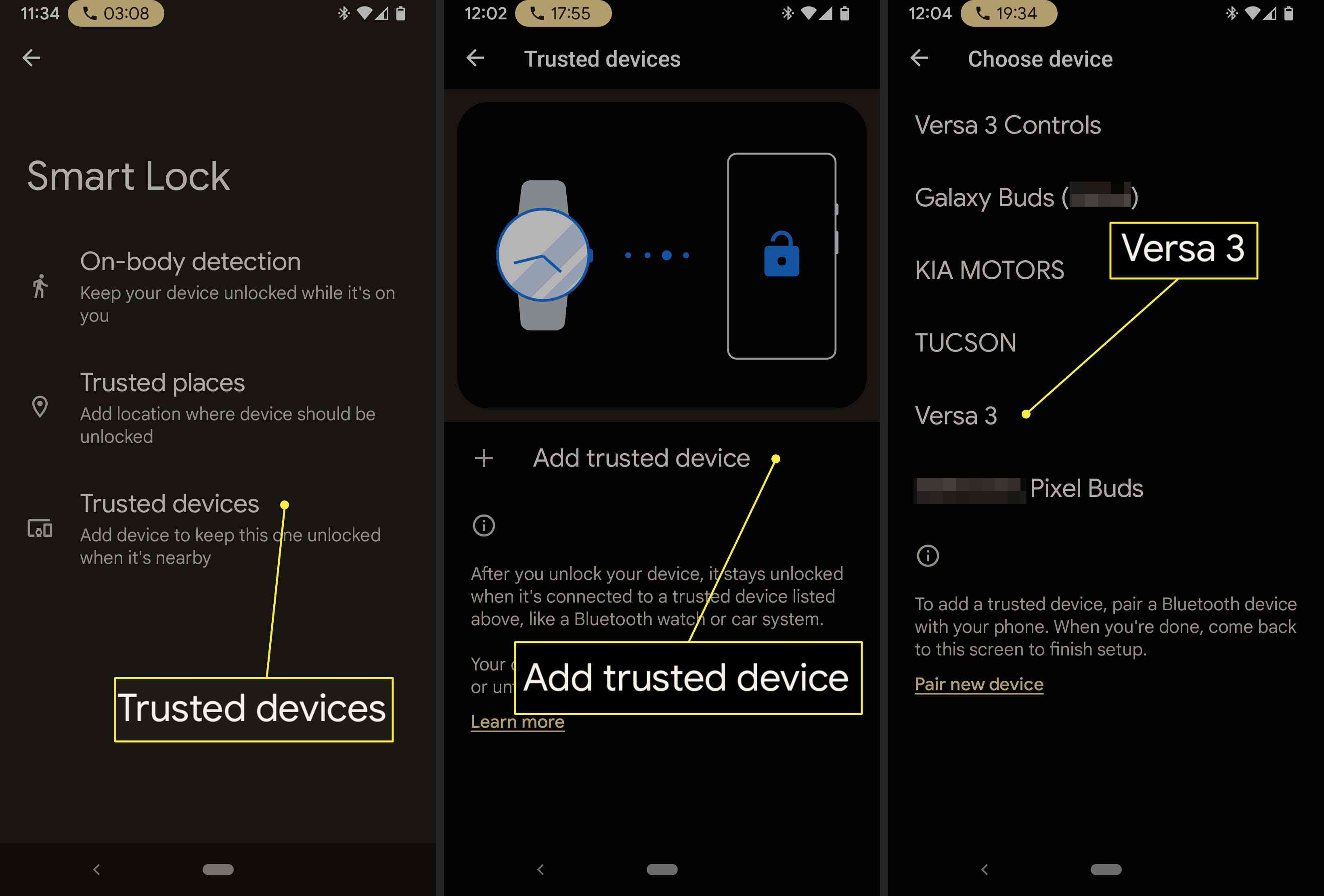 An Android user connects their Fitbit to Smart Lock