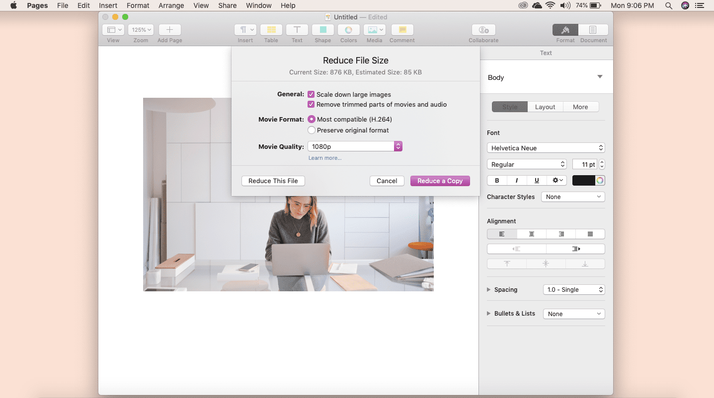 Screenshot of Reduce File Size feature in Apple Pages