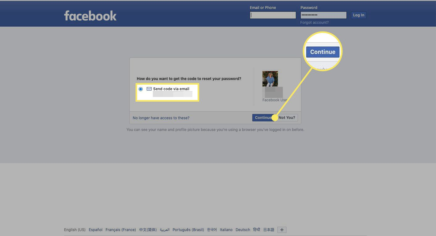 Recovery method and the Continue button on Facebook