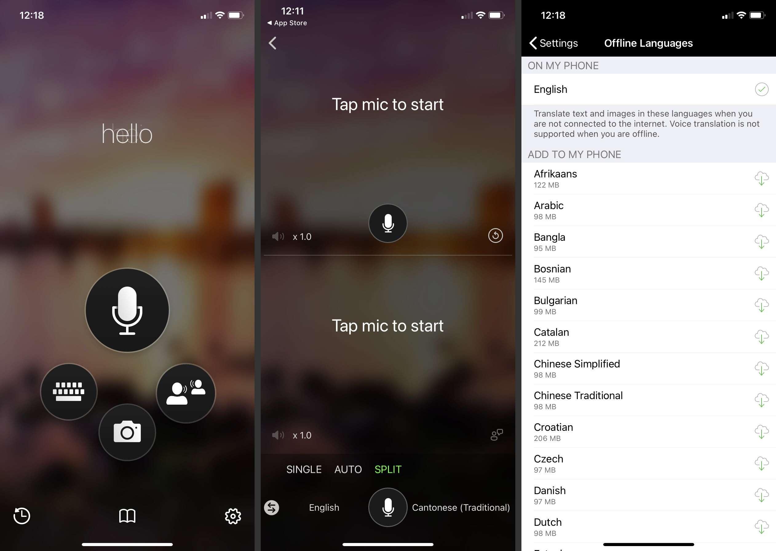 Microsoft Translator on iOS
