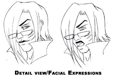 Detailed facial expression sketches of Vin