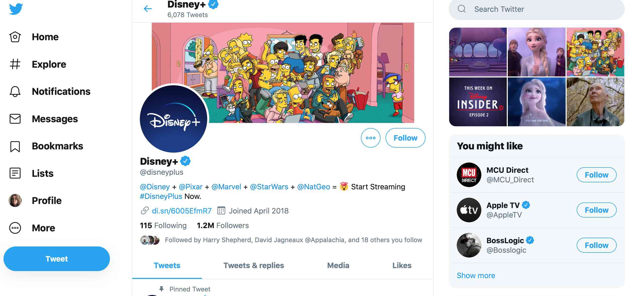 Disney Plus Twitter account
