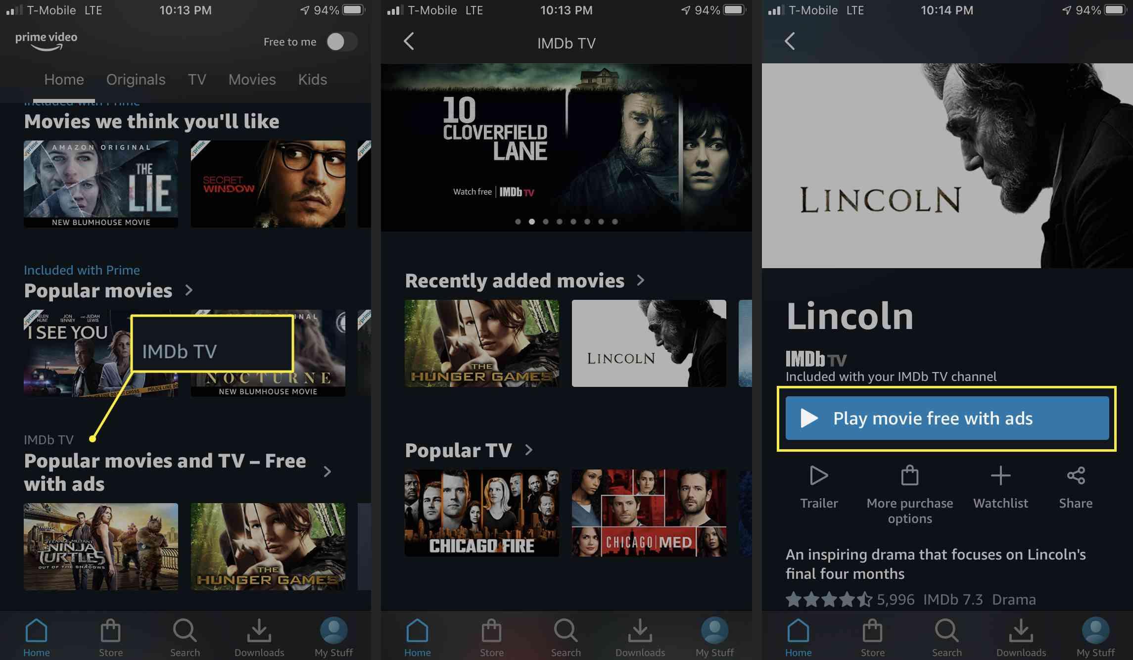 Watching IMDb TV movie on mobile