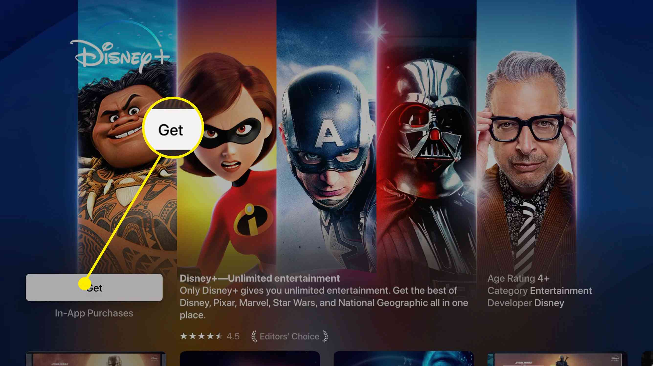Screenshot of Disney+ app in Apple TV app store