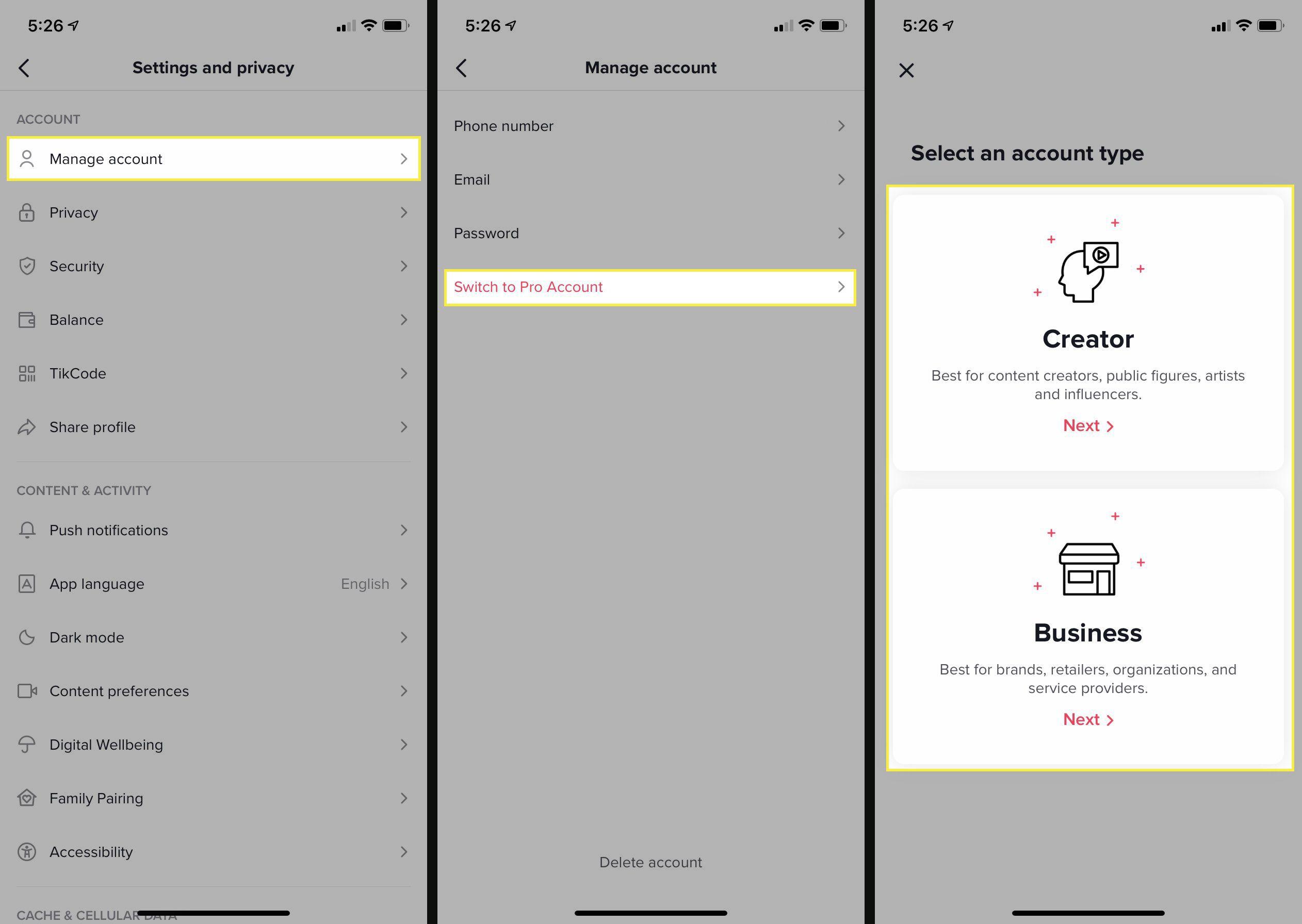 Changing TikTok account type on iOS.