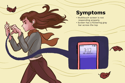 Illustration of a woman tapping her iPhone screen while walking in the wind