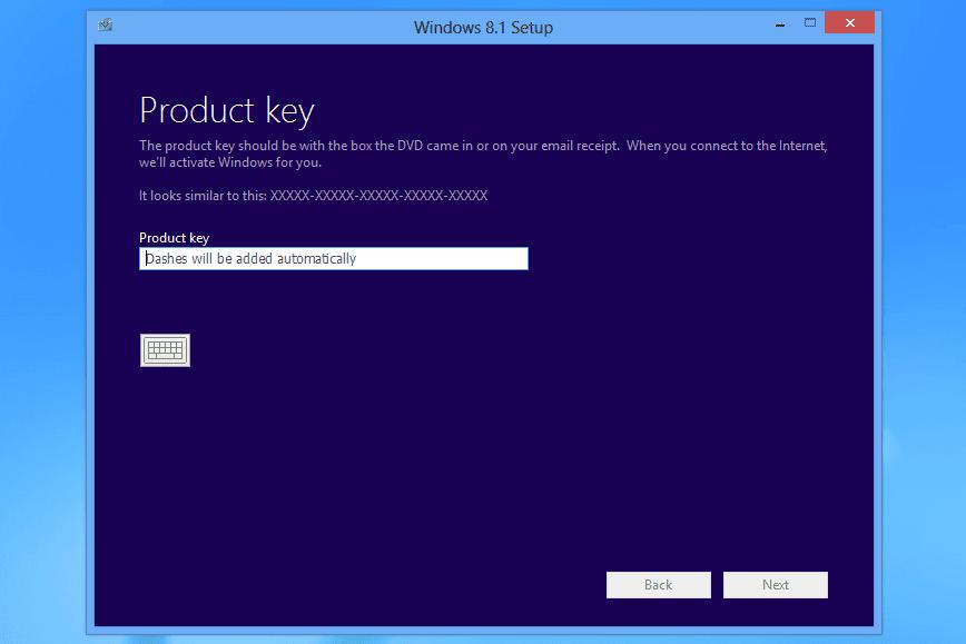Product key text box in Windows 8.1 setup