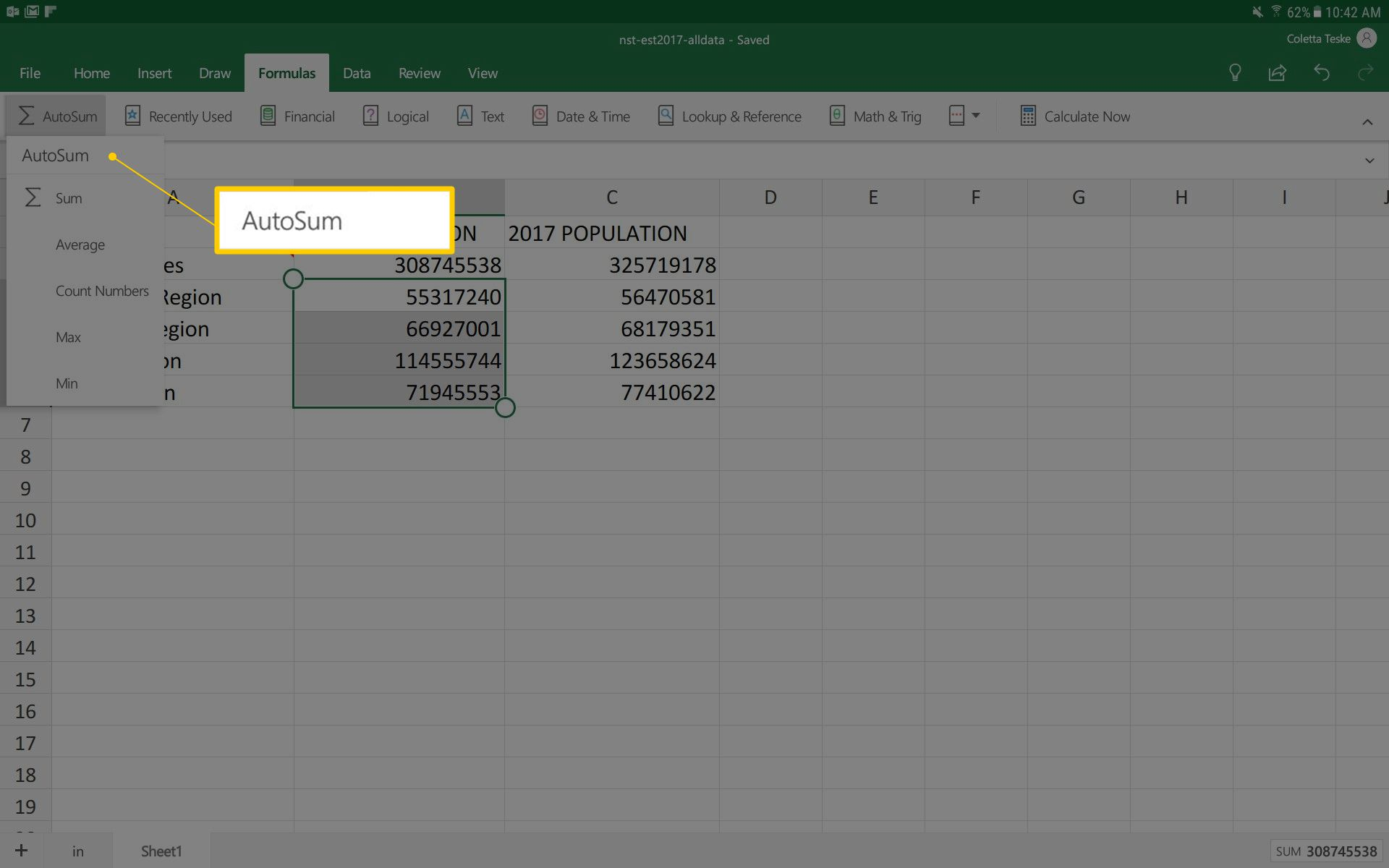 A screenshot showing how to quickly add a column of numbers using AutoSum in Android Excel