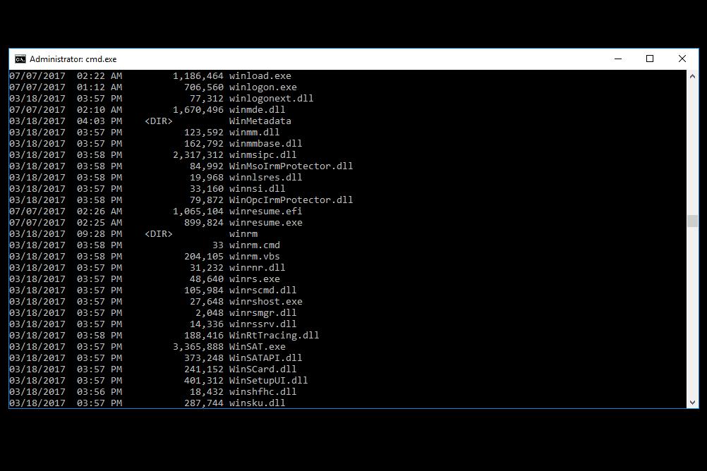 Screenshot of Windows 10 boot files
