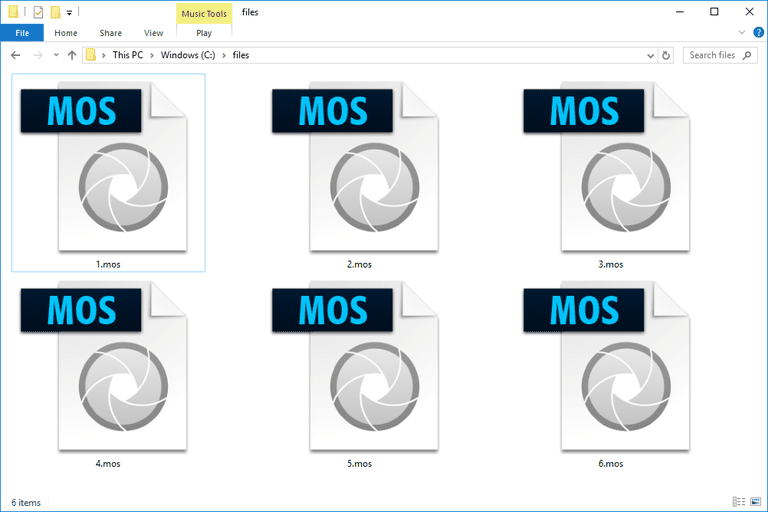 Screenshot of several MOS files in Windows 10 that open with Adobe Photoshop