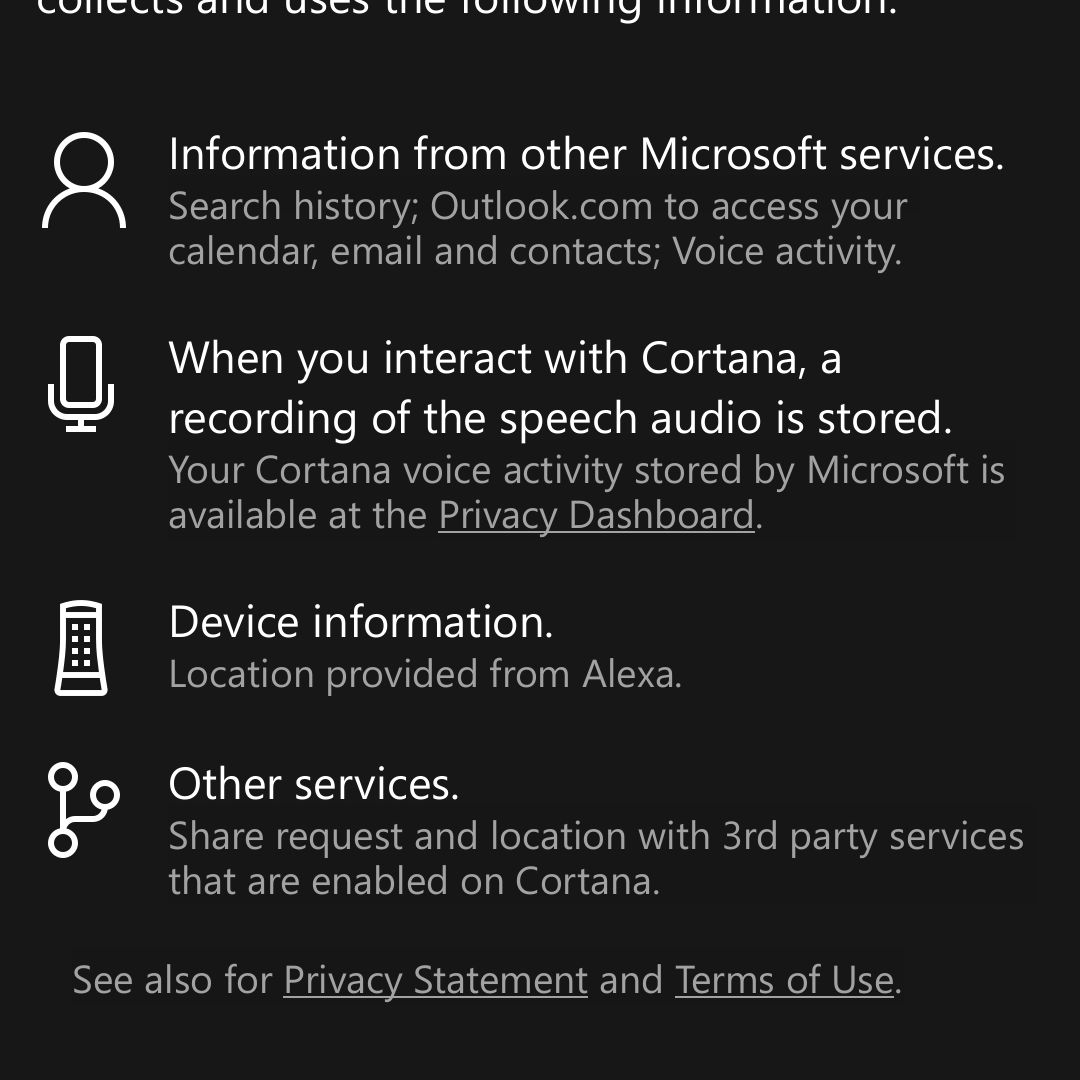 Cortana permissions requested by device in Android Alexa app.