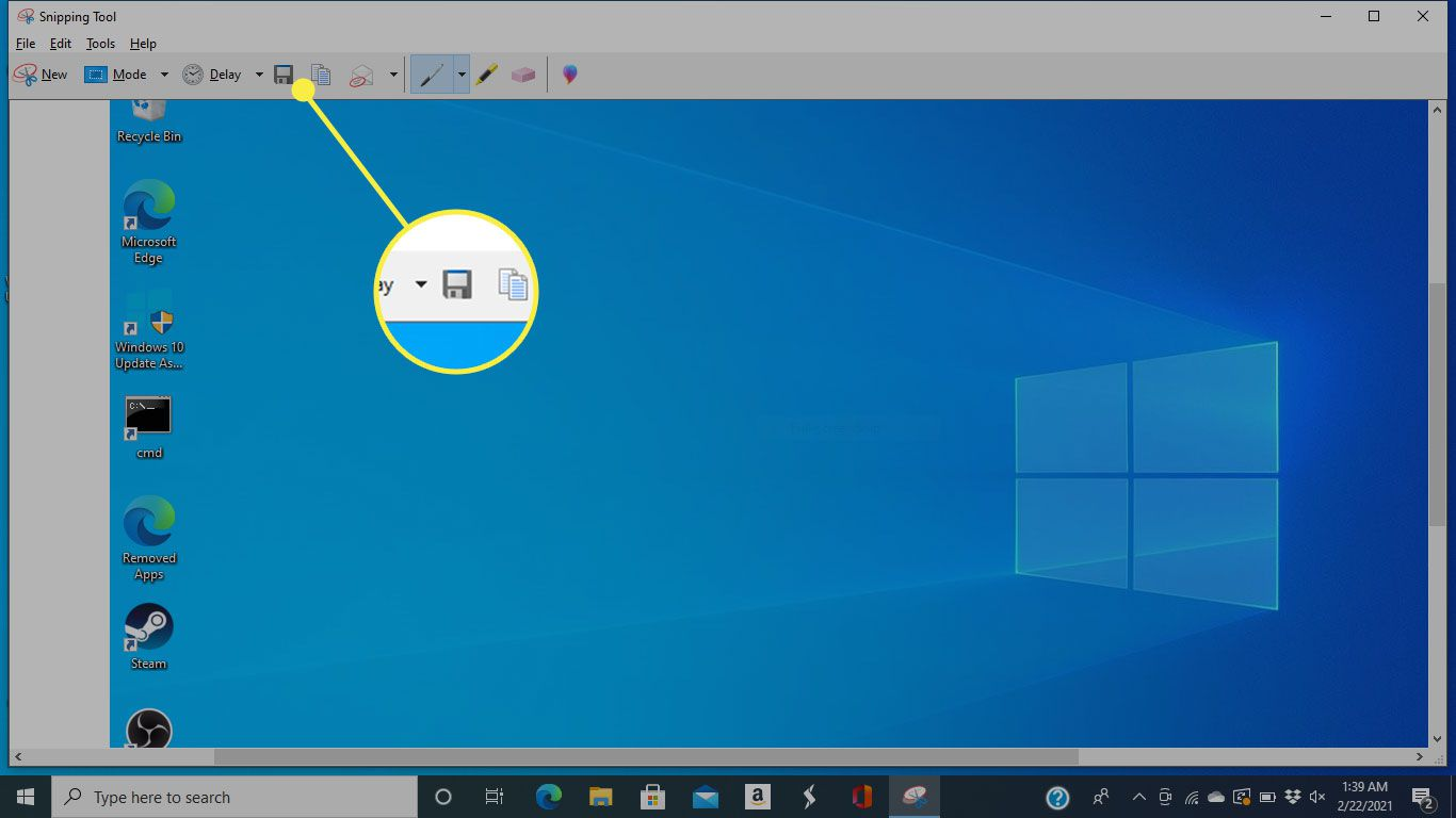 The Save button in the Windows 10 Snipping Tool