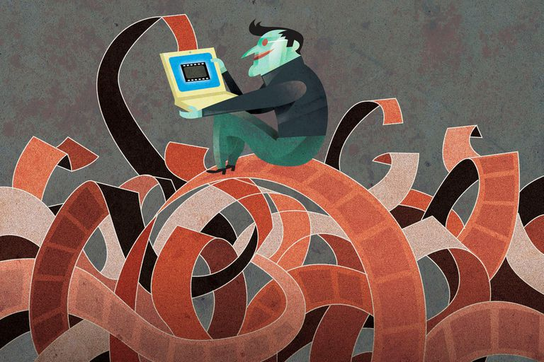 Illustration of man sitting on a pile of film using laptop and saving videos