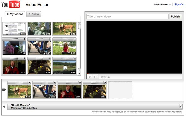 Screenshot of Youtube video editor.