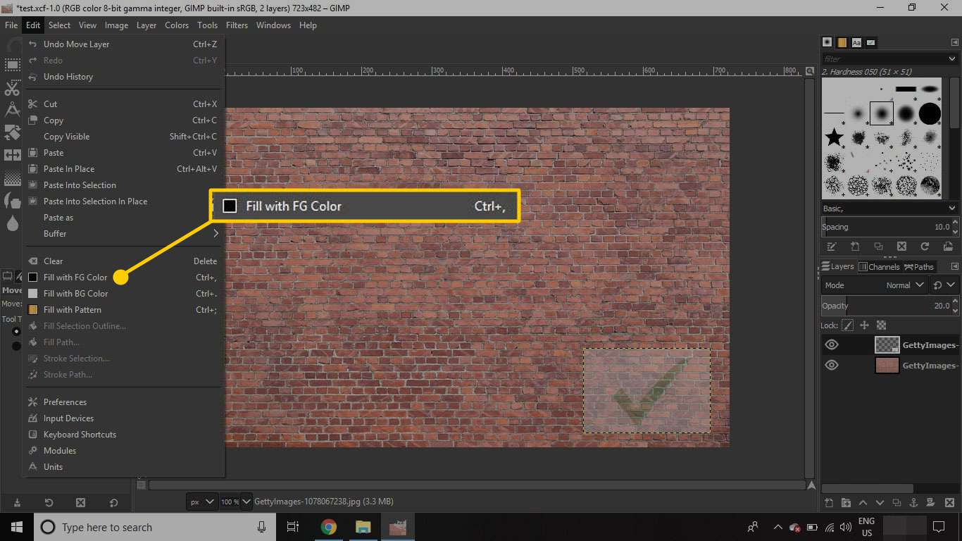 An image open in GIMP with the