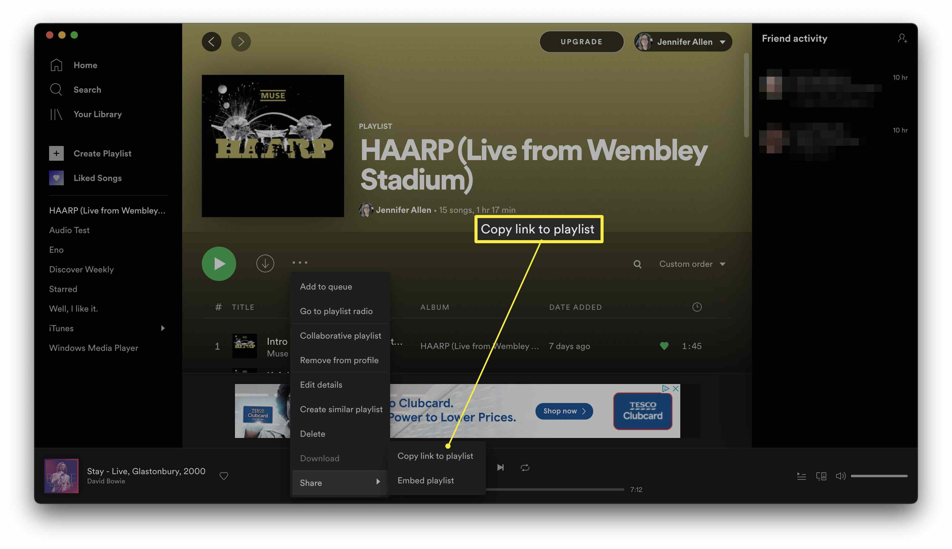 Spotify with a playlist open and Copy link to playlist highlighted