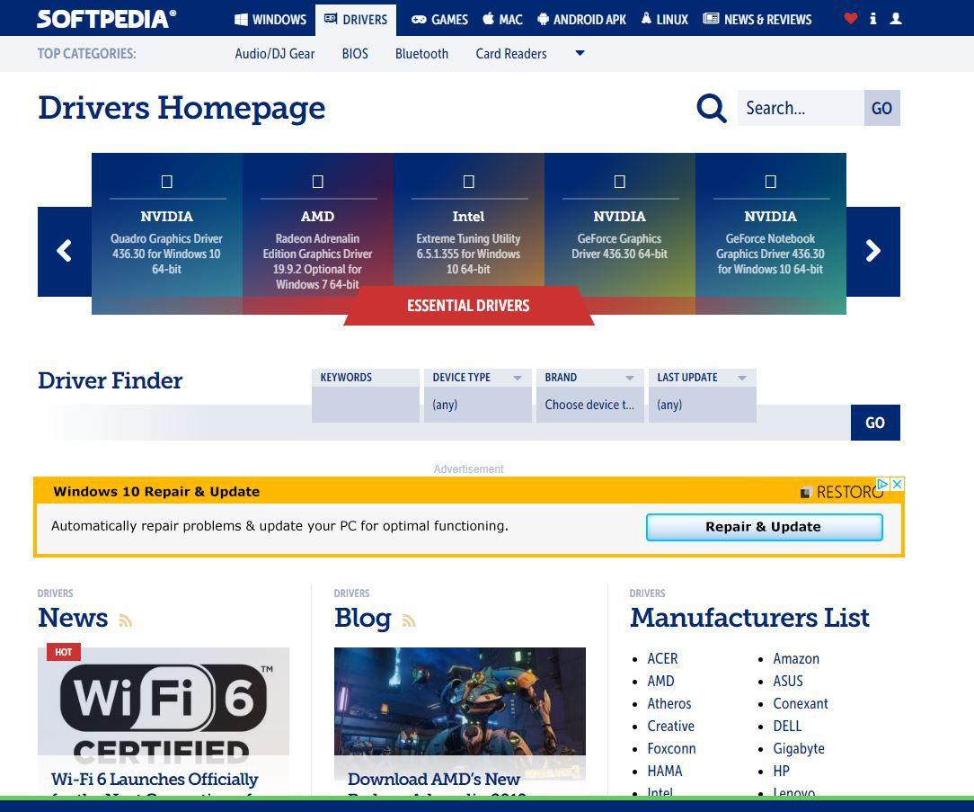 Screenshot of Softpedia