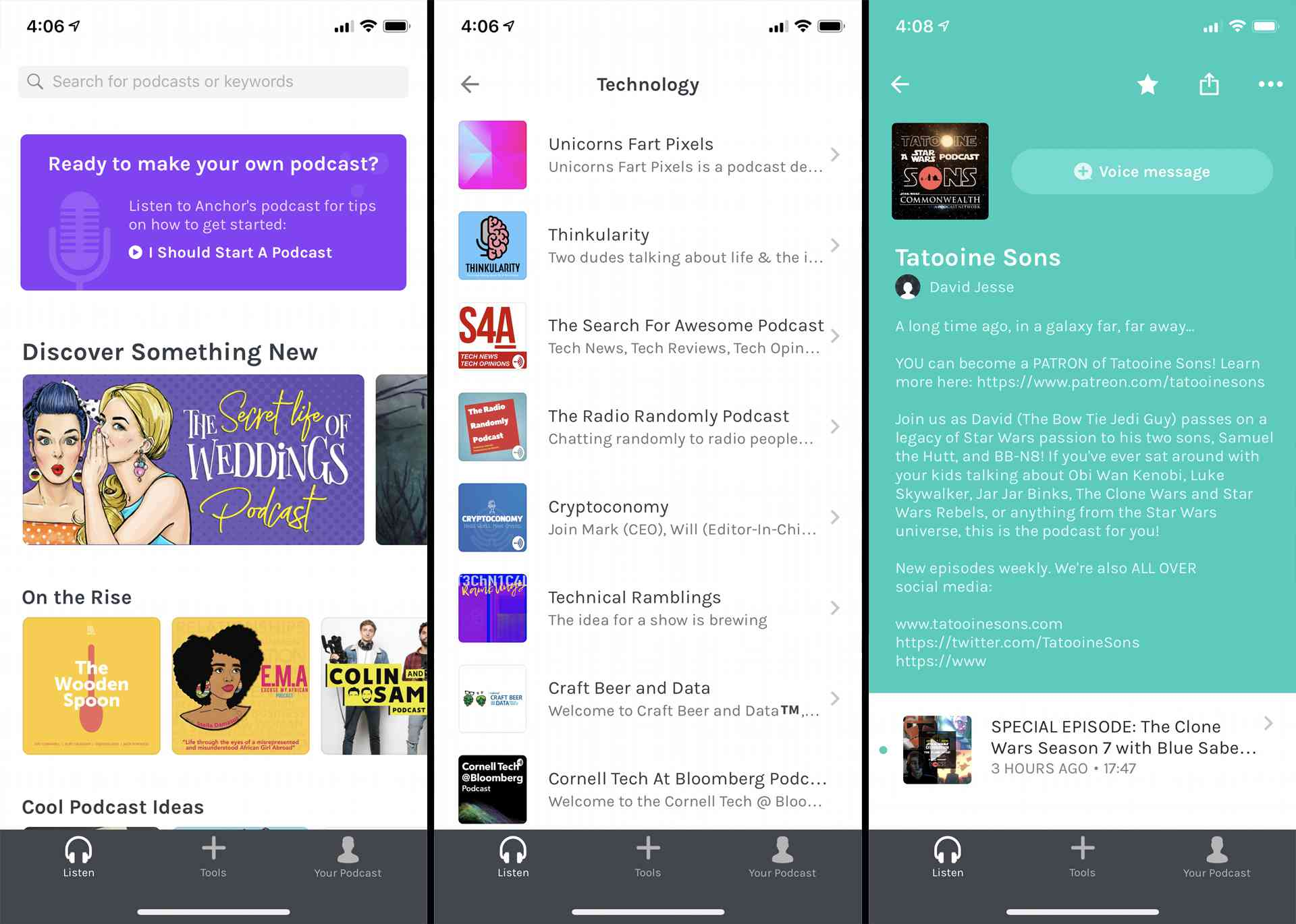 Podcast listing within the Anchor FM iOS app.