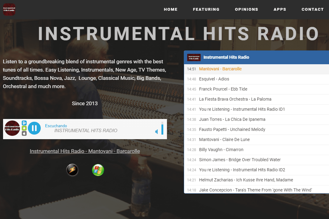 Screenshot of the Instrumental Hits Radio station