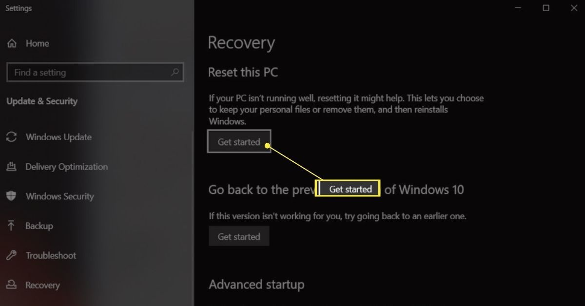 Get Started button on Recovery options in Windows on an Asus laptop.
