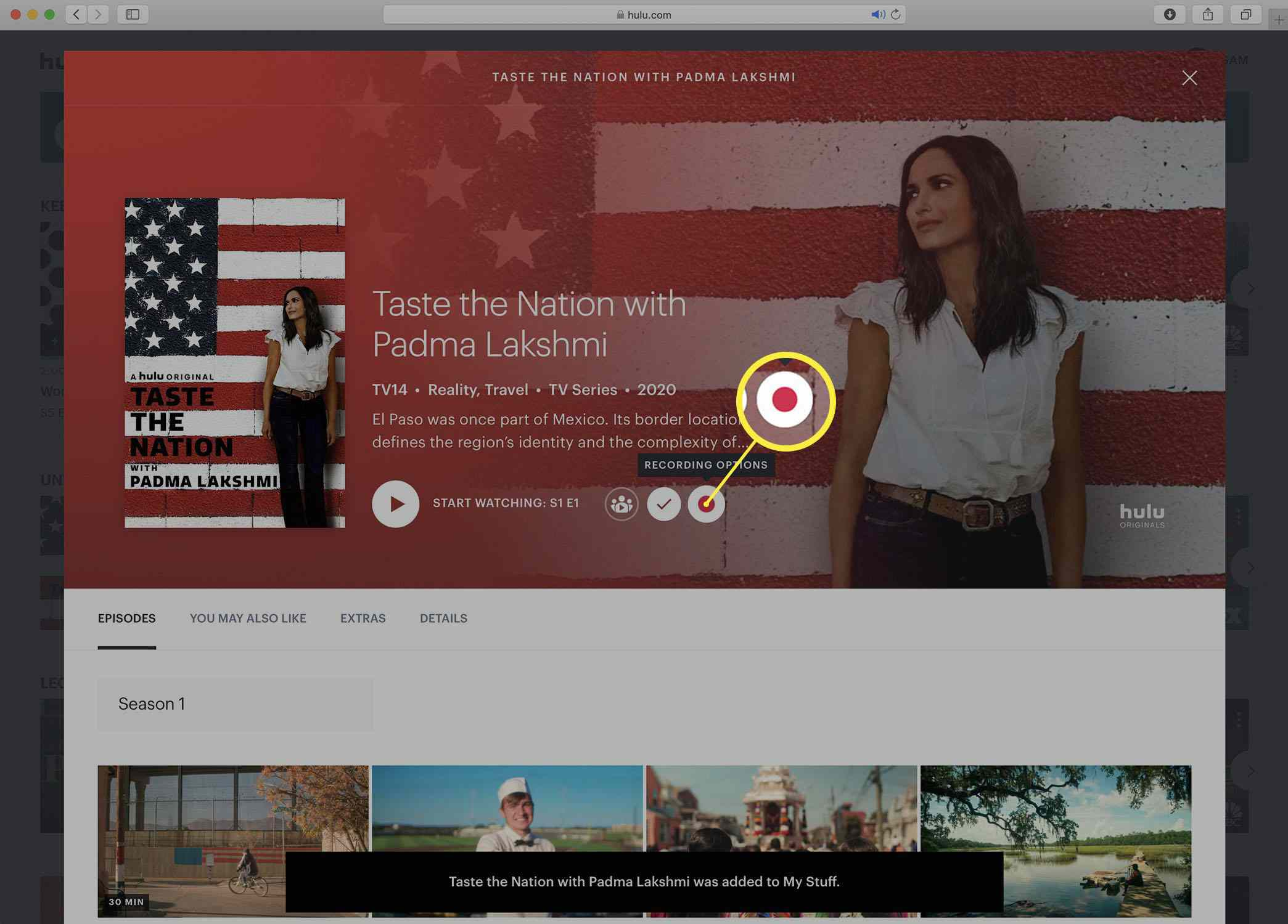 Screenshot of the Hulu series detail page with the Record option visible.
