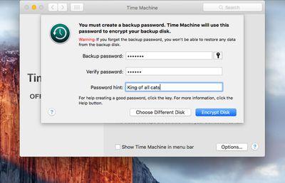 Encrypting Time Machine Backup