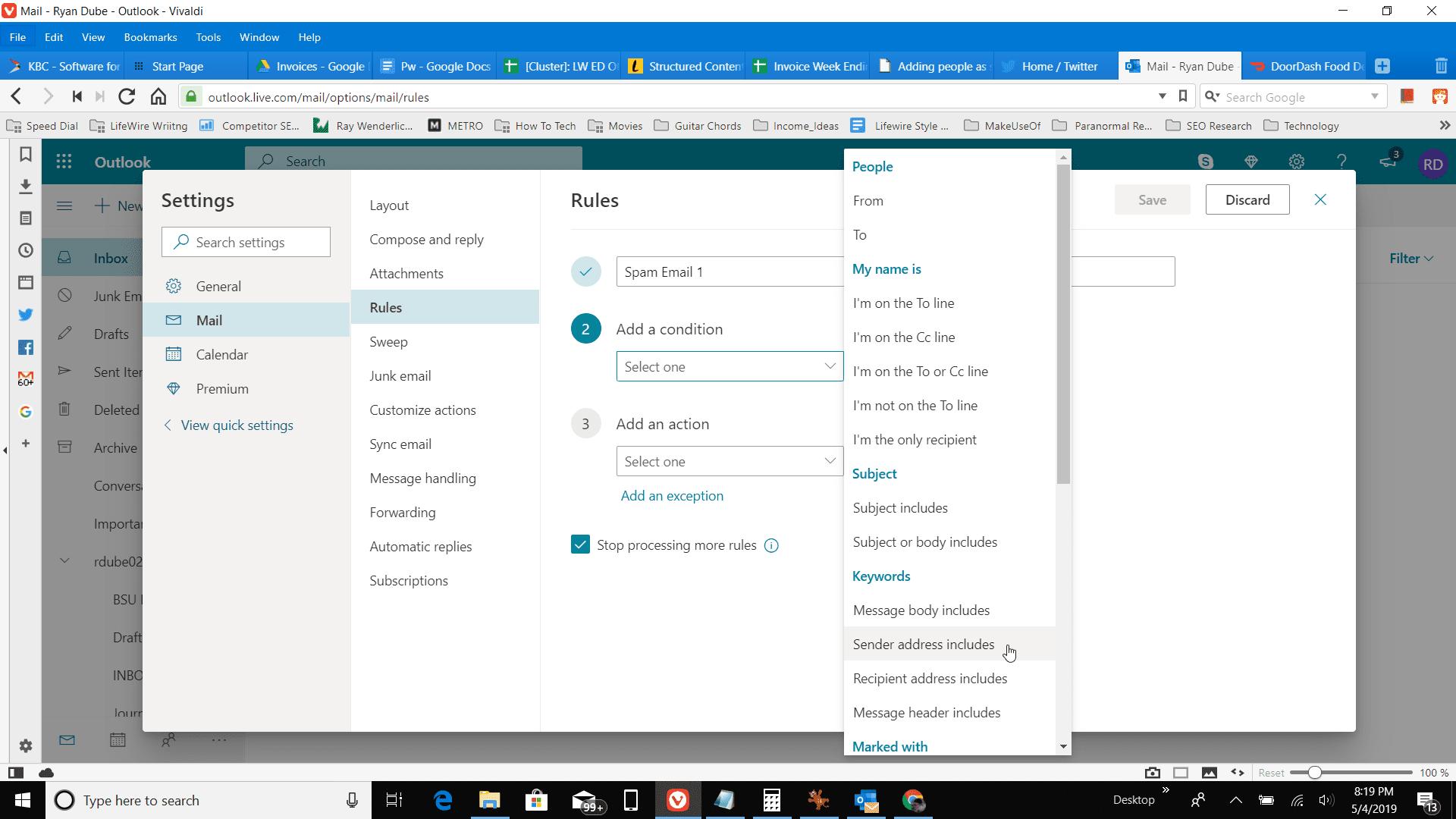 Screenshot of Sender address includes in Outlook online
