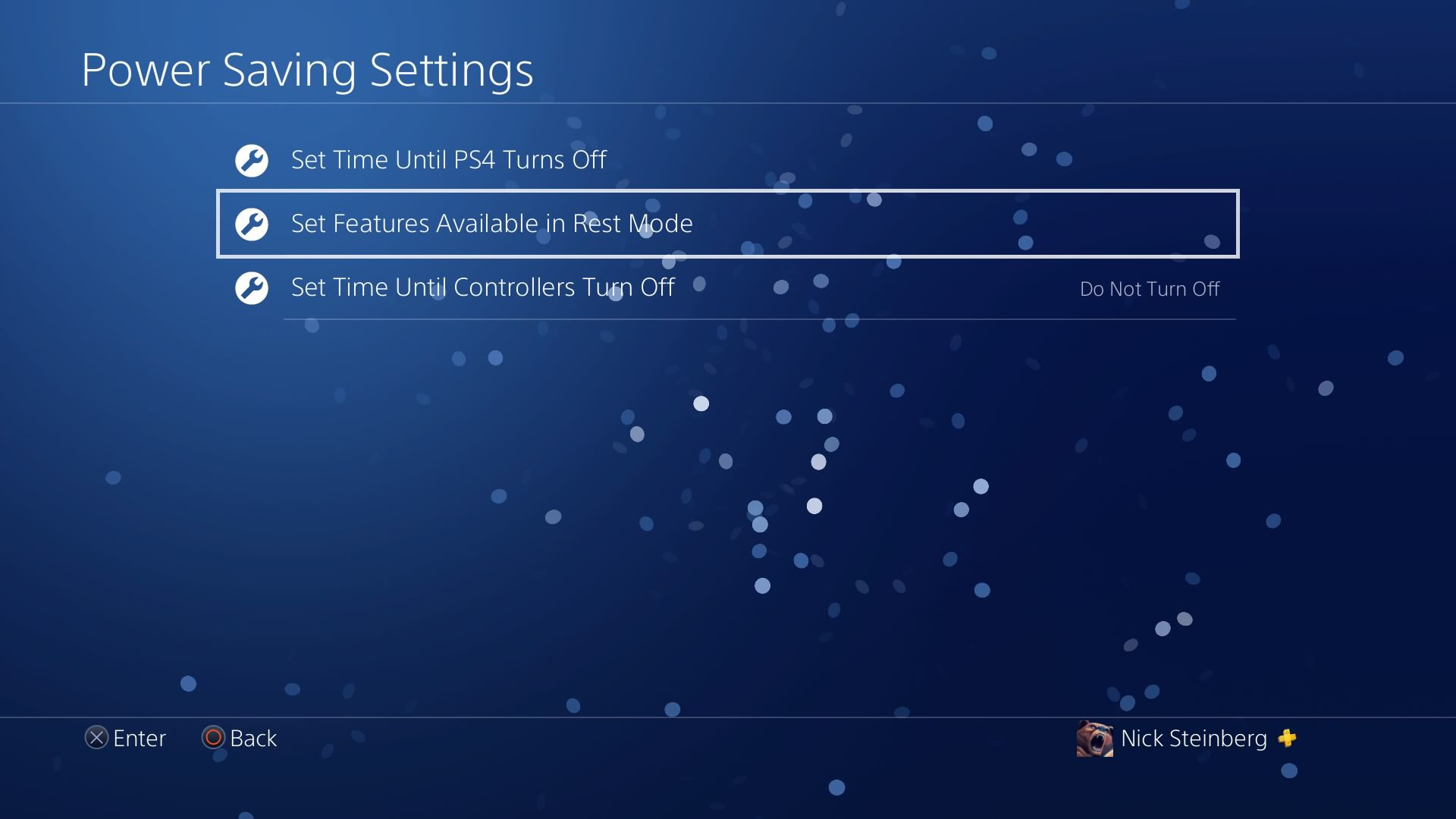Selecting Set Features Available in Rest Mode under PS4 Power Saving Settings.