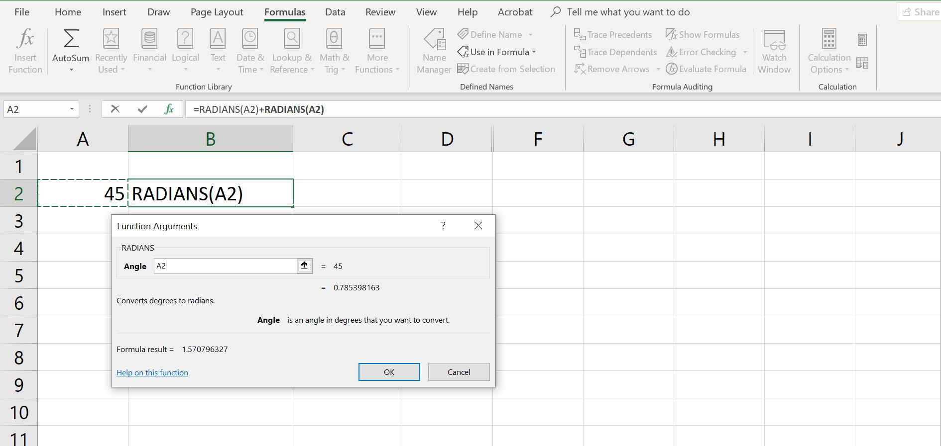 Excel spreadsheet with dialog box open for creating a RADIANS function