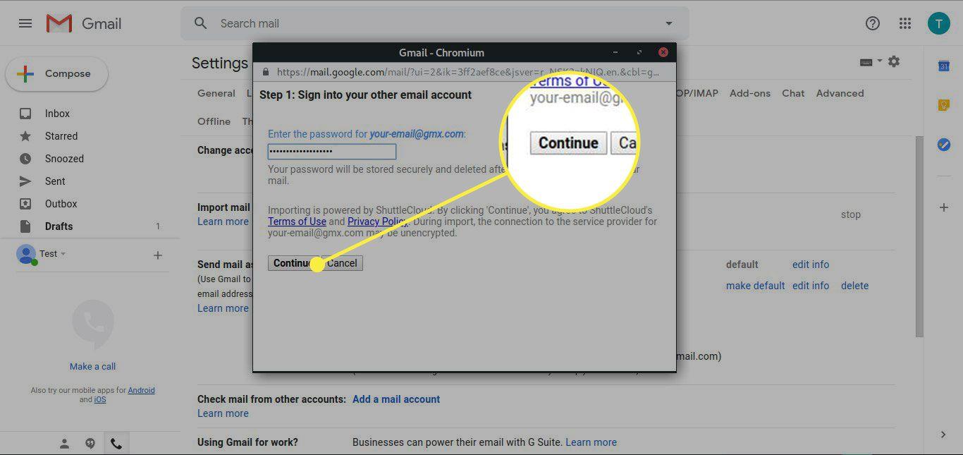 Screenshot of Gmail's