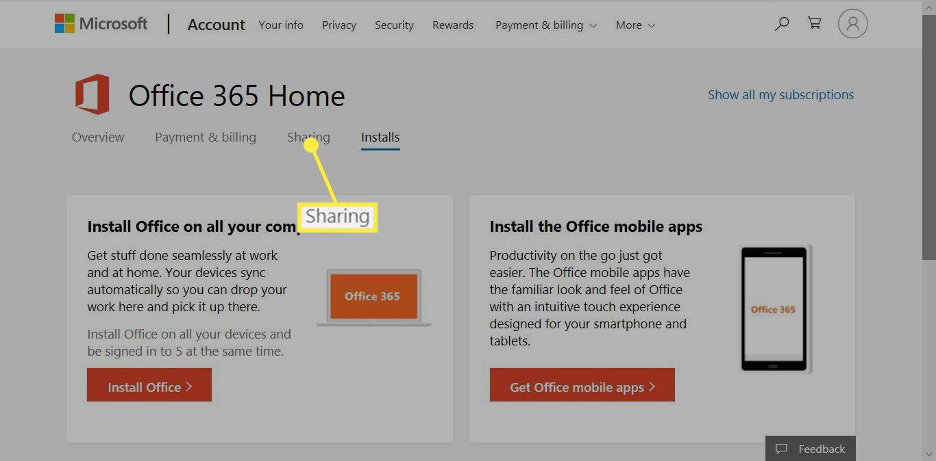 The Sharing tab on Office 365