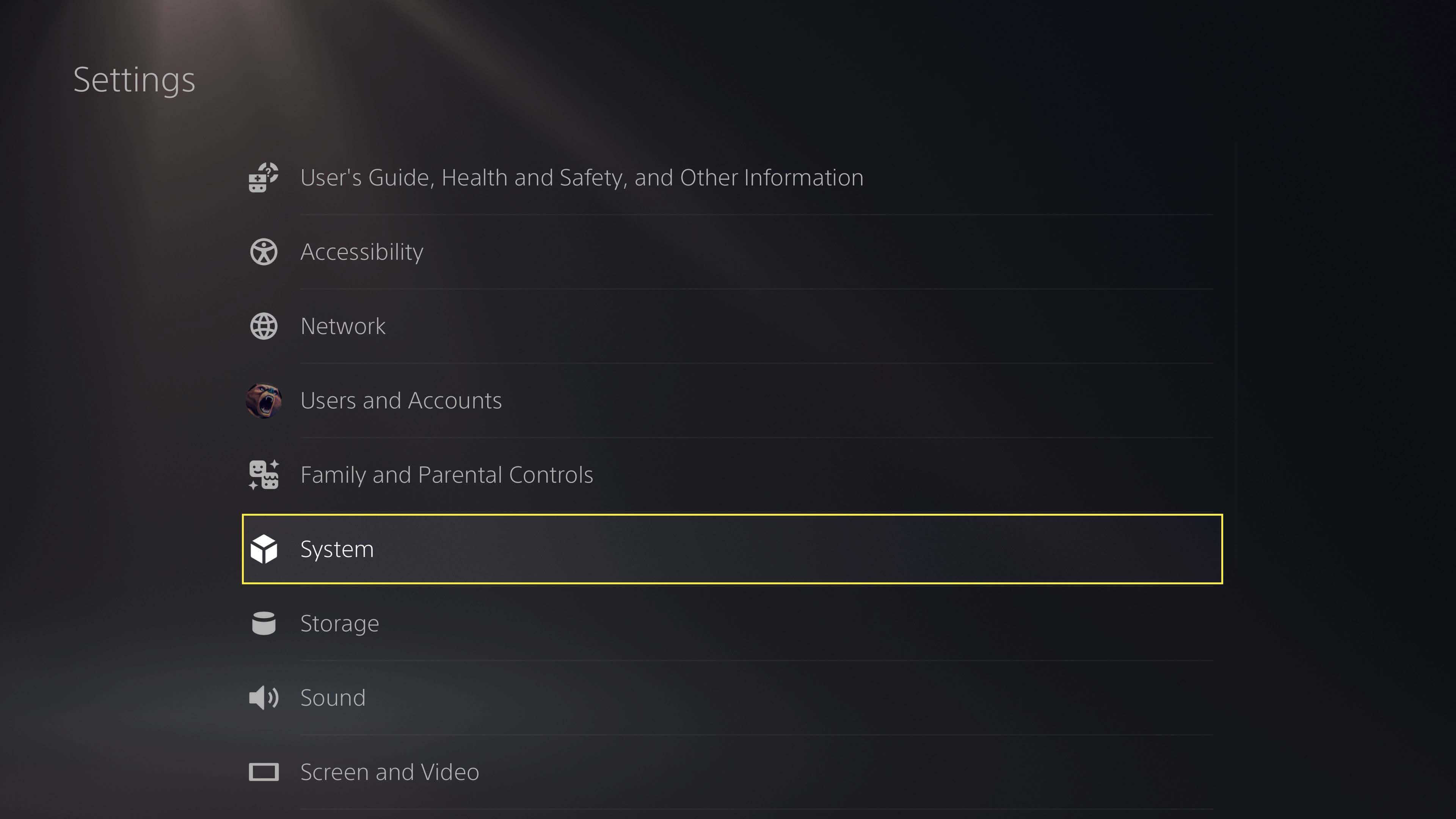 PS5 main system settings menu selecting System.