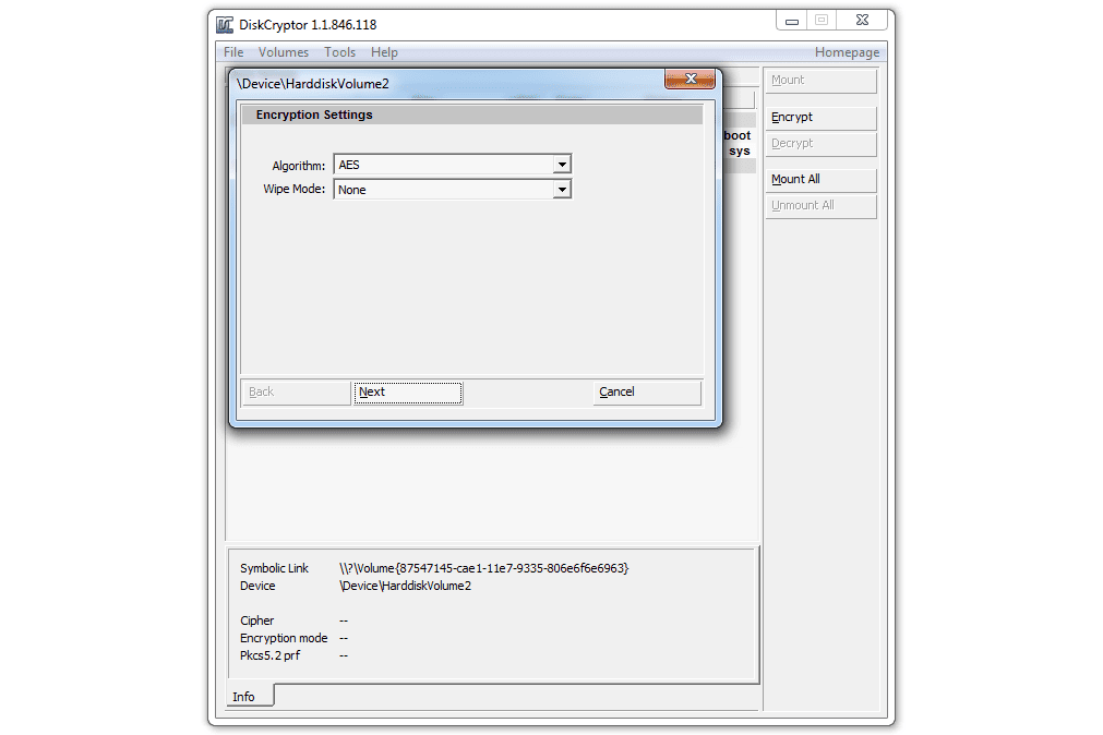 Diskcryptor encryption settings
