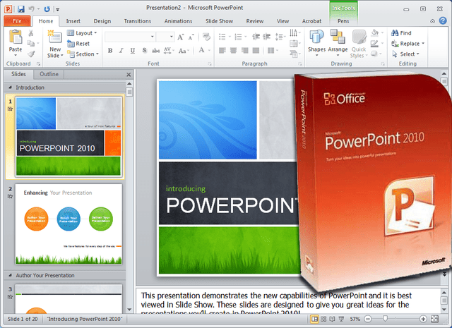Microsoft PowerPoint 2010 Box Shot and Sample Template