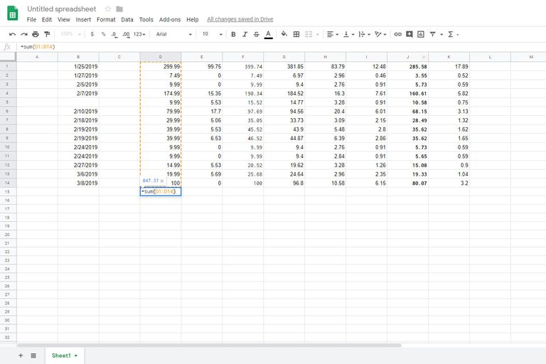 Add up a column in google sheets screenshot