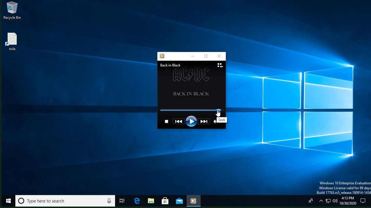 Windows Media Player seek to end of song