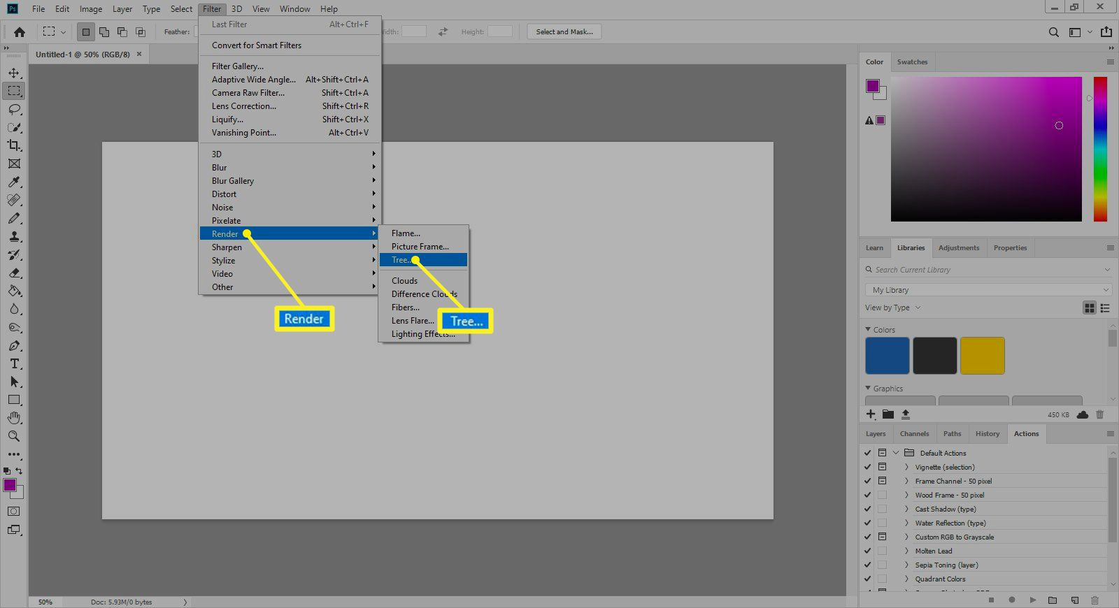 Adobe Filters menu with Render and Tree highlighted