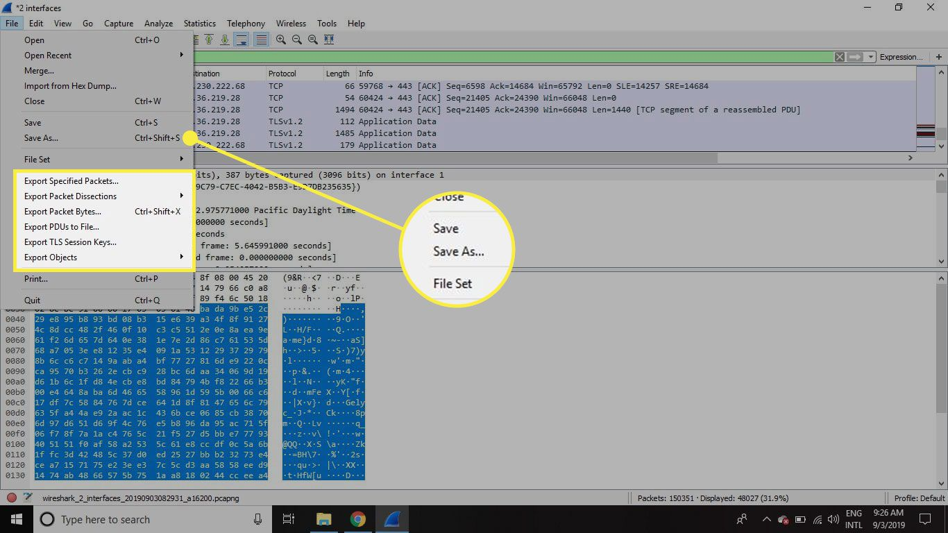 A screenshot of Wireshark with the Save As command and Export options highlighted